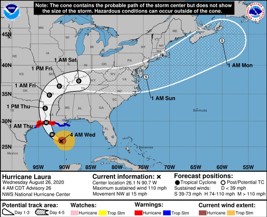 Southeast Texas on alert for Hurricane Laura's impact